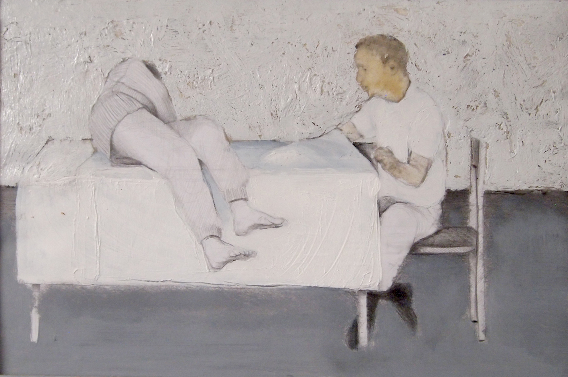 Rastislav Podhorský - Over tablecloth, 2012, Mixed media on paper, 21 x 29,7 cm Courtesy Gandy gallery