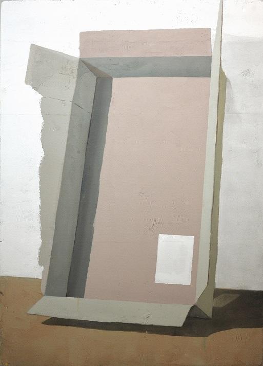 Rastislav Podhorský - Shelter II, 2018, Mixed media on hardened polystyrene, 180 x 125 cm Courtesy Gandy gallery