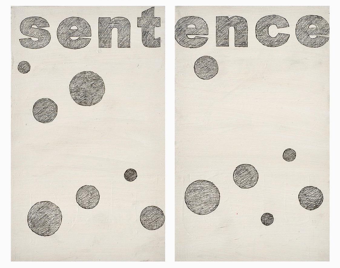 Agnès Thurnauer - Prédelle (Sentence), 2017, Black pencil on acrylic paint, 55 x 33 cm (each piece), Courtesy Gandy gallery