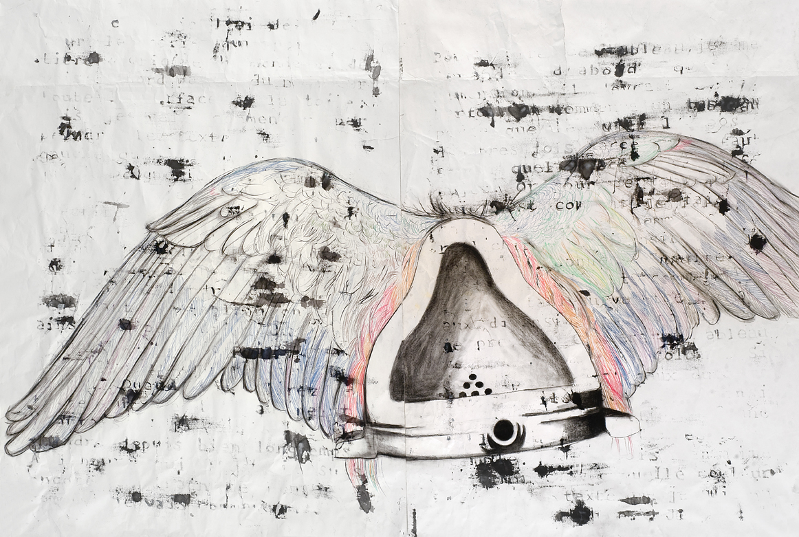 Agnès Thurnauer - Finalement, 2013, Color pencils and ink on paper, 160 x 240 cm, Courtesy Gandy gallery