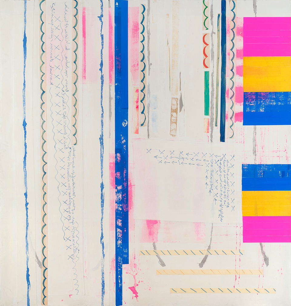 Agnès Thurnauer - L'annoncée, 2012, Acrylic paint, marker and adhesive tape on canvas, 217 x 227 cm, Courtesy Gandy gallery