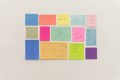 Untitled Conversations (Food), 2005 Fifteen sheets of paper, pins 33 x 53 cm