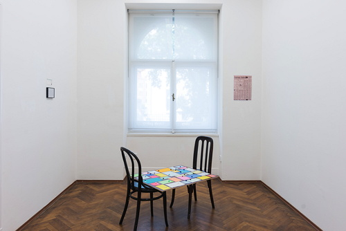 Household Conversations, 2002/2016 Framed print, 2 chairs, panel, conversations 71 x 89 cm