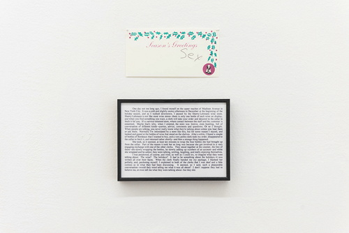 Untitled Conversation (Sex), 1996 Framed text and one sheet of paper, pins 25,5 x 20 cm