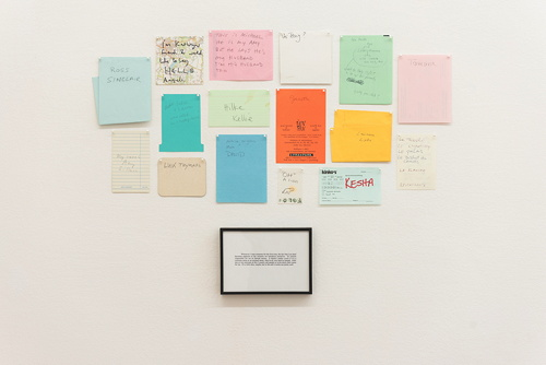 Untitled Conversations (Names), 1998 Framed text and 16 sheets of paper, pins 53 x 76 cm
