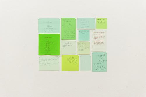 Thirteen Green Conversations, 2004 Thirteen sheets of paper, pins 38 x 48 cm