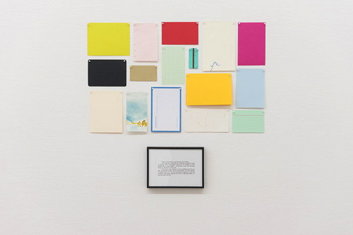 Untitled Conversations, 1995 Framed Text and 15 blank papers, pins 56 x 70 cm