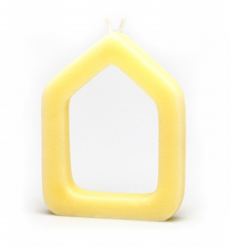 Matali Crasset, Homewax, 2000, natural candle, with two wicks, 16,5 x 11,5 x 2 cm
