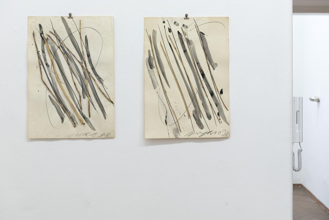 Ilija Šoškić - Parallele I. and II., 1998 Drawing/Installation on paper (wood, paper, ink), 50 x 36 x 2 cm Courtesy Archivio Šoškić and Gandy gallery