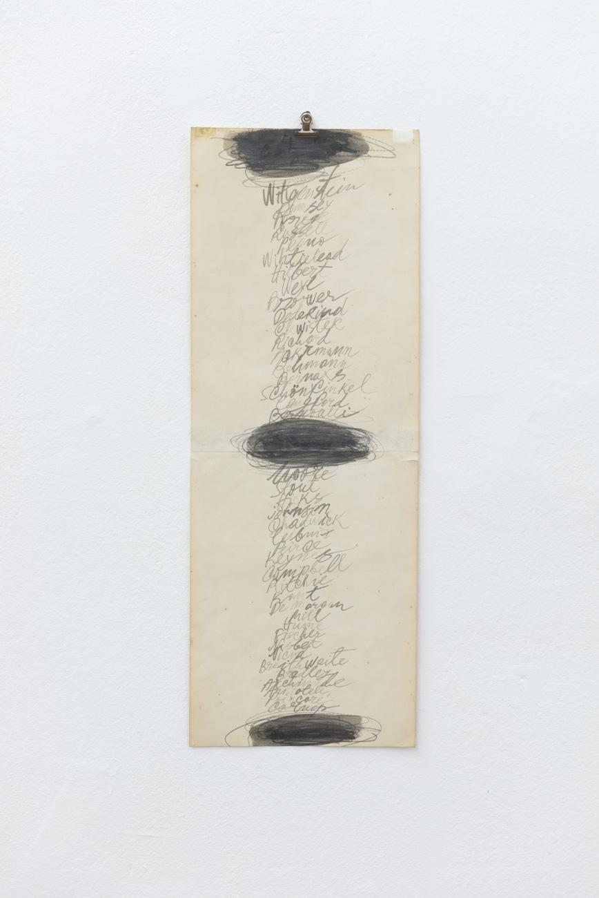 Ilija Šoškić - s. t., 1998/1999 Drawing (paper, graphite), 60 x 21 cm Courtesy Archivio Šoškić and Gandy gallery